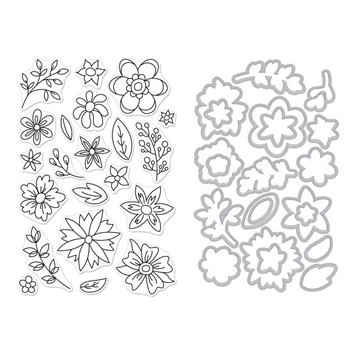 Hero Arts FLOWERS FOR COLORING Clear Stamp and Die Combo SB189