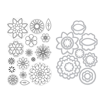 Hero Arts BLOOMS FOR COLORING Clear Stamp and Die Combo SB188