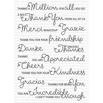 Clearly Besotted SCRUMPTIOUS THANK YOU Clear Stamps