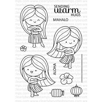 Clearly Besotted HAPPY HULA Clear Stamps