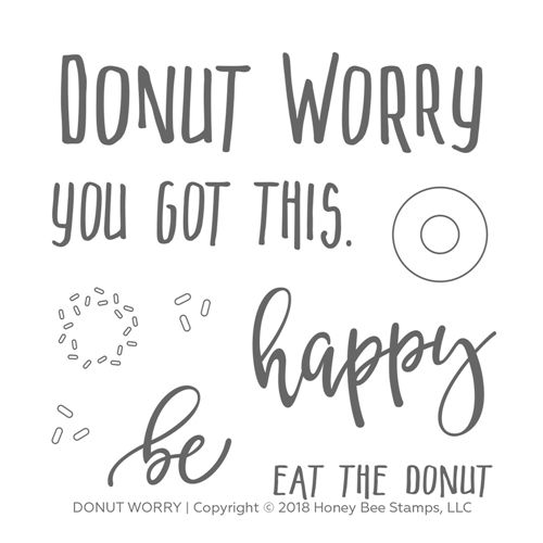 Honey Bee DONUT WORRY Clear Stamp Set hbst-111 Preview Image