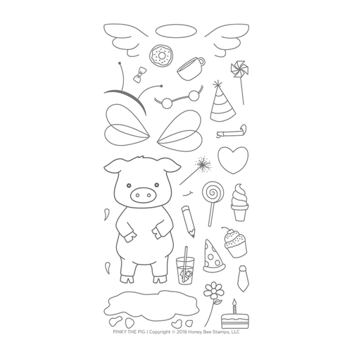 Honey Bee PINKY THE PIG Clear Stamp Set hbst-104 Preview Image