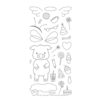 Honey Bee PINKY THE PIG Clear Stamp Set hbst-104