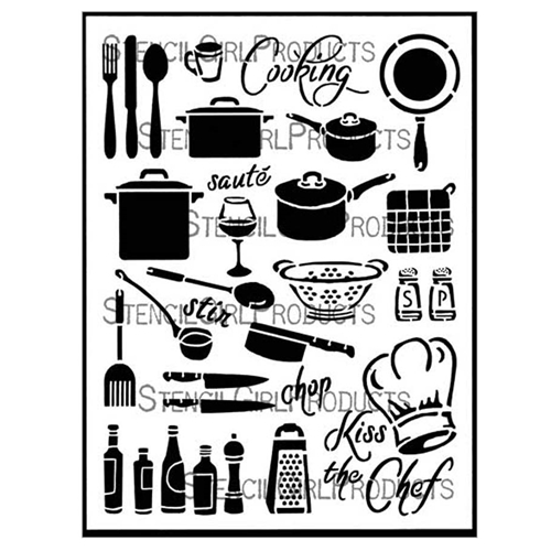 StencilGirl COOKING 9x12 Stencil l627 Preview Image