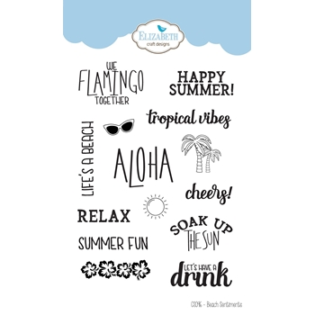 Elizabeth Craft Designs Clear Stamps BEACH SENTIMENTS cs096