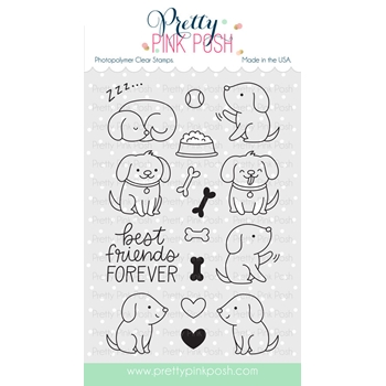 Pretty Pink Posh PLAYFUL PUPPIES Clear Stamp Set