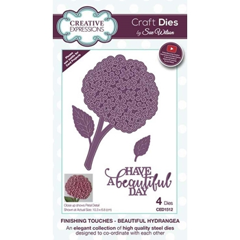 Creative Expressions BEAUTIFUL HYDRANGEA Sue Wilson Finishing Touches Die Set ced1512