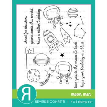 Reverse Confetti MOON MEN Clear Stamps