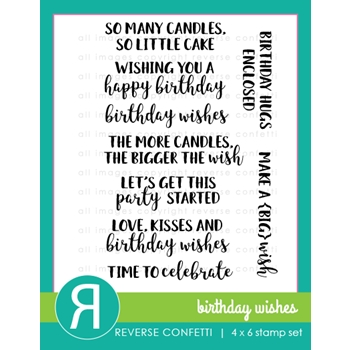 Reverse Confetti BIRTHDAY WISHES Clear Stamps
