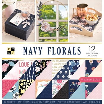 DCWV NAVY FLORALS 12 x 12 Stack 609069