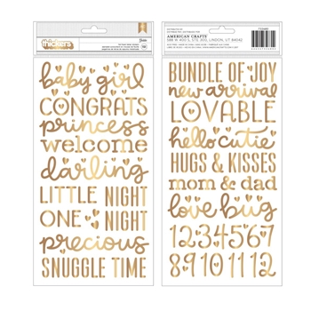 Pebbles Inc. BABY GIRL Night Gold Foil Foam Letter Stickers Thickers 732680