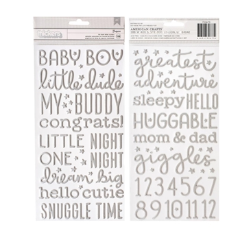 Pebbles Inc. BABY BOY Night Silver Foil Foam Letter Stickers Thickers 732673