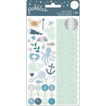 Pebbles Inc. BABY BOY REPEAT STICKERS Night Phrases and Icons 732829