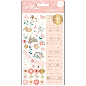 Pebbles Inc. BABY GIRL REPEAT STICKERS Night Phrases and Icons 732865