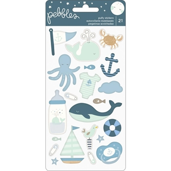 Pebbles Inc. BABY BOY Night Puffy Stickers 732824