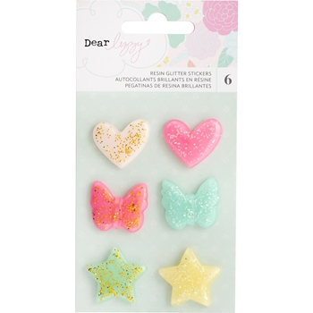 American Crafts Dear Lizzy ADHESIVE GLITTER RESIN SHAPES Stay Colorful 346494