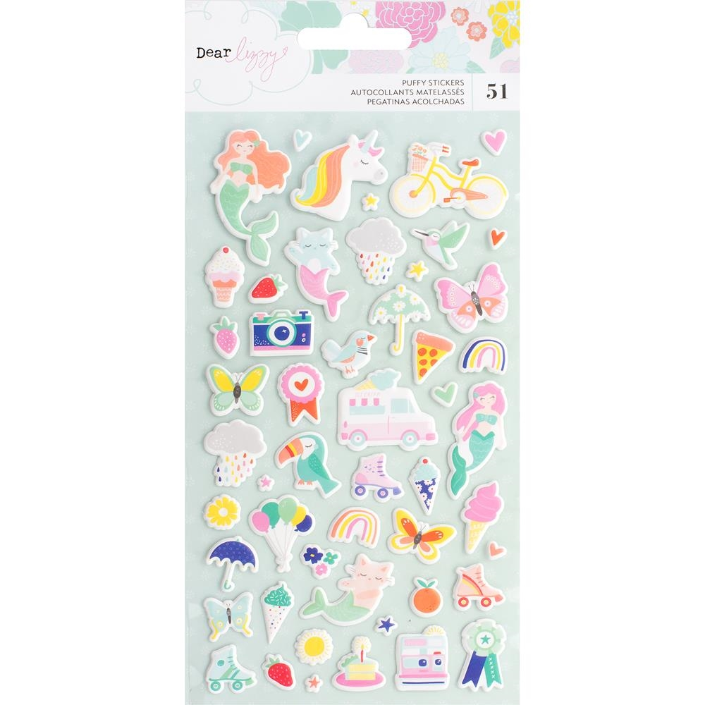 American Crafts Dear Lizzy STAY COLORFUL PUFFY STICKERS 346492 zoom image