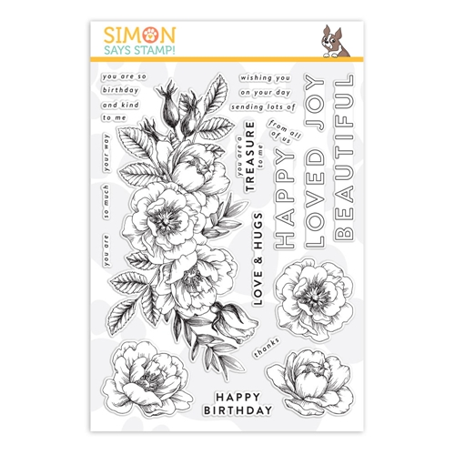 Simon's Exclusive Beautiful Flowers Clear Stamp Set