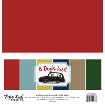 Echo Park A DOG'S TAIL 12 x 12 Double Sided Solids Paper Pack adt155015