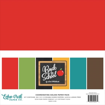 Echo Park BACK TO SCHOOL 12 x 12 Double Sided Solids Paper Pack bts156015