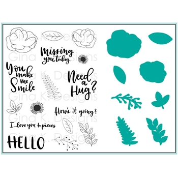 Gina K Designs ANEMONE WISHES Clear Stamps and Dies 3672