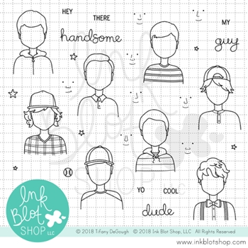 Ink Blot Shop Clear Stamp Set HEY HANDSOME inbl038
