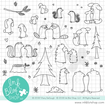 Ink Blot Shop Clear Stamp Set FLOPSY FOREST FRIENDS inbl042
