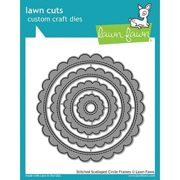 Lawn Fawn STITCHED SCALLOPED CIRCLE FRAMES Die Cuts LF1718
