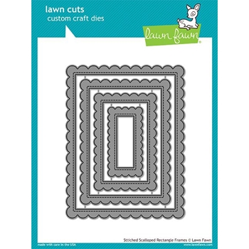 Lawn Fawn STITCHED SCALLOPED RECTANGLE FRAMES Die Cuts LF1719