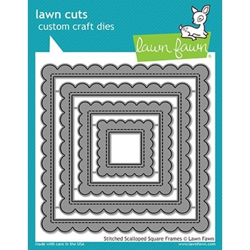 Lawn Fawn STITCHED SCALLOPED SQUARE FRAMES Die Cuts LF1720