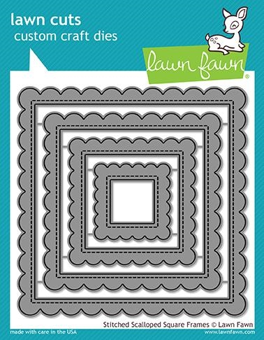 Lawn Fawn STITCHED SCALLOPED SQUARE FRAMES Die Cuts LF1720 zoom image