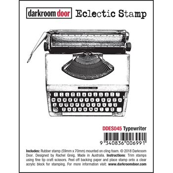 Darkroom Door Cling TYPEWRITER Eclectic Stamp ddes045