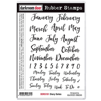 Darkroom Door Cling Stamp DIARY DATES Rubber UM ddrs191
