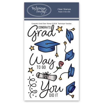 Technique Tuesday CONGRATS GRAD Clear Stamps 02671
