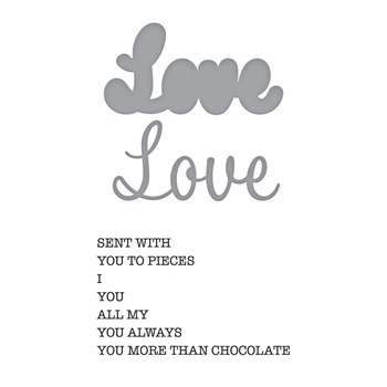 SDS-156 Spellbinders LOVE EXPRESSIONS Cling Stamp and Die Set