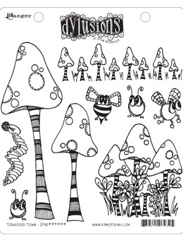 Dyan Reaveley TOADSTOOL TOWN Cling Stamp Set Dylusions DYR63254
