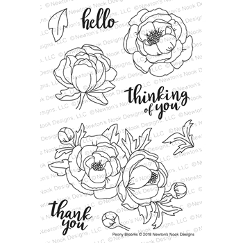 Newton's Nook Designs PEONY BLOOMS Clear Stamps NN1805S03