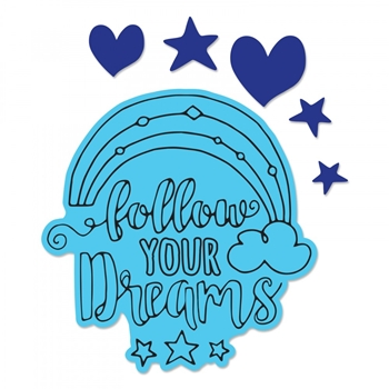 Sizzix Framelits FOLLOW YOUR DREAMS Combo Die and Stamp Set 662921
