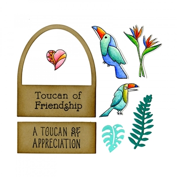 Sizzix Framelits TOUCAN SENTIMENTS Combo Die and Stamp Set 662781