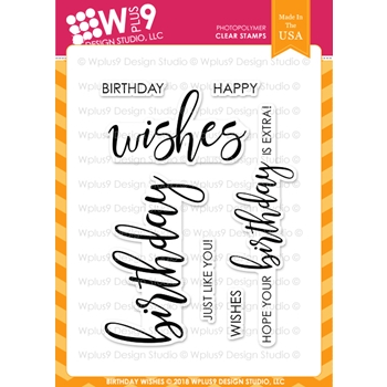 RESERVE Wplus9 BIRTHDAY WISHES Clear Stamps cl-wp9bw