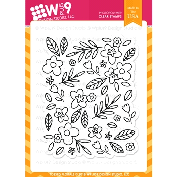 Wplus9 TOSSED FLORALS Clear Stamps cl-wp9tfl