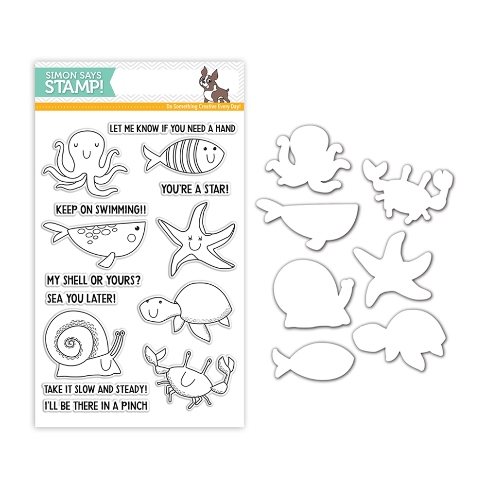 Simon Says Stamps And Dies UNDER THE SEA ANIMALS set323us Fluttering By zoom image