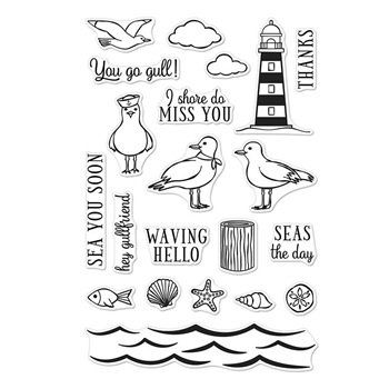 RESERVE Hero Arts Clear Stamps SEAS THE DAY SEAGULLS CM276