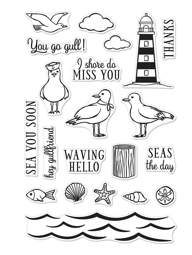 Hero Arts Clear Stamps SEAS THE DAY SEAGULLS CM276 zoom image