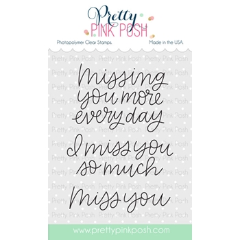 Pretty Pink Posh SIMPLE SAYINGS MISS YOU Clear Stamp Set