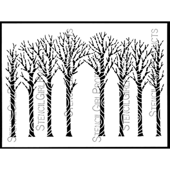 StencilGirl WINTER TREES BARK 9x12 Stencil l635