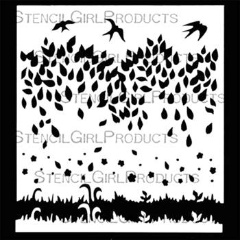 StencilGirl SWALLOWS TAKE FLIGHT 6x6 Stencil s614