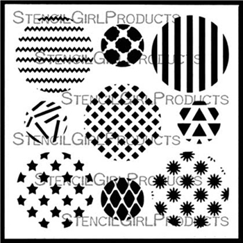 StencilGirl ASSORTED CIRCLES SET 1 6x6 Stencil s633
