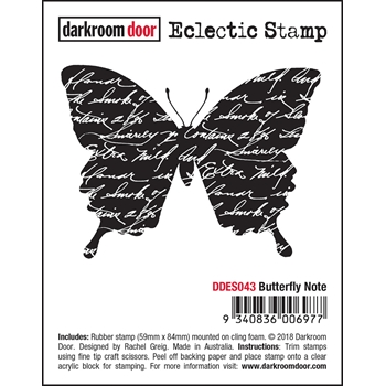 Darkroom Door Cling BUTTERFLY NOTE Eclectic Stamp ddes043