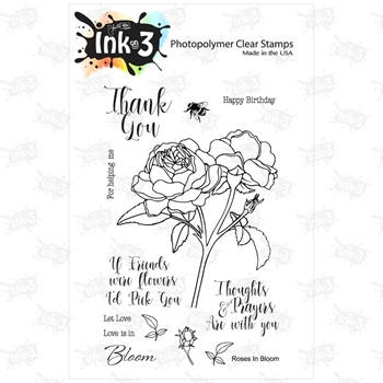 Inkon3 ROSES IN BLOOM Clear Stamp Set 98735